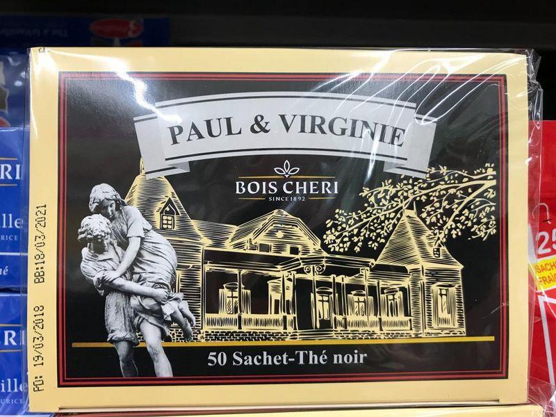 Teeverpackung mit dem Motiv von Pau & Virginie